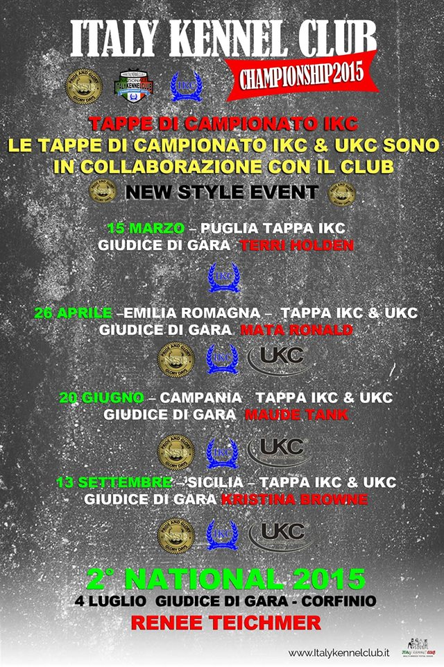 Calendario Campionato 2015 IKC - Italy Kennel Club